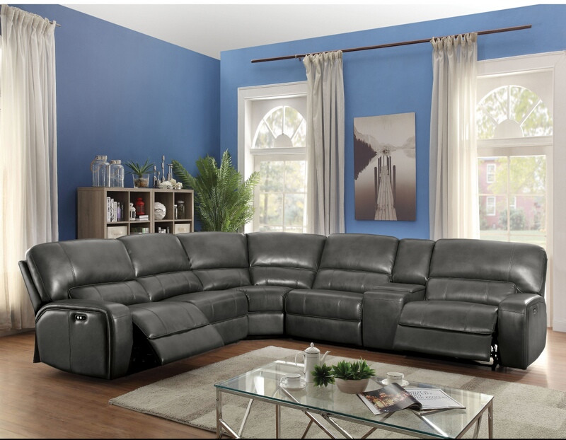 Acme 53745 6 pc Latitude run madelia saul gray leather-aire sectional sofa with power recliners