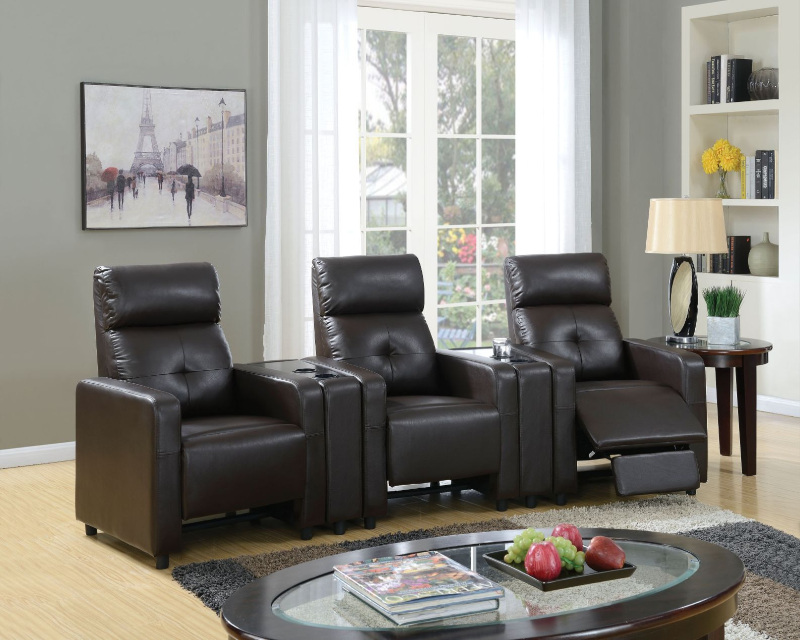 5 pc britten collection espresso faux leather upholstered theater sectional sofa with recliners