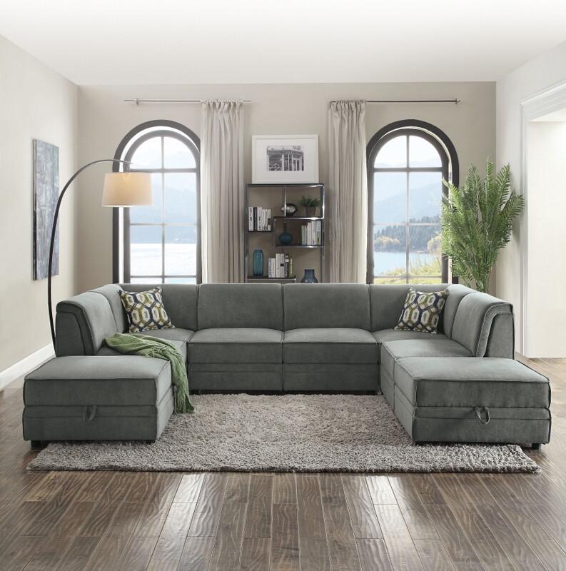 Acme 53780-81 6 pc Bois gray velvet modular sectional sofa