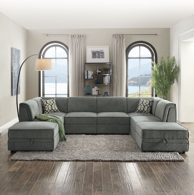 Acme 53780-81-82 8 pc Bois gray velvet modular sectional sofa with storage ottomans