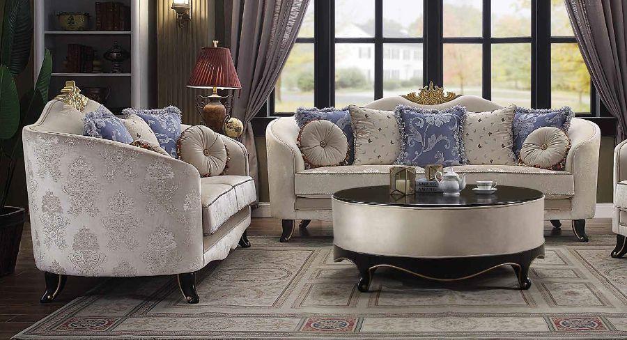Acme 53945-46 2 pc Rosdorf park quane sheridan black finish wood cream fabric sofa and love seat set