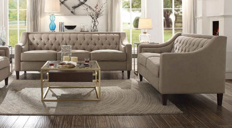 Acme 54010-11 2 pc Charlton home riverside suzanne beige fabric tufted backs sofa and love seat set