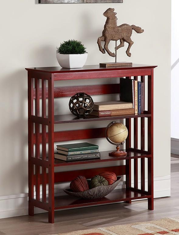 Asia Direct 5416-CH Cade holland 3 tier cherry finish wood book shelf