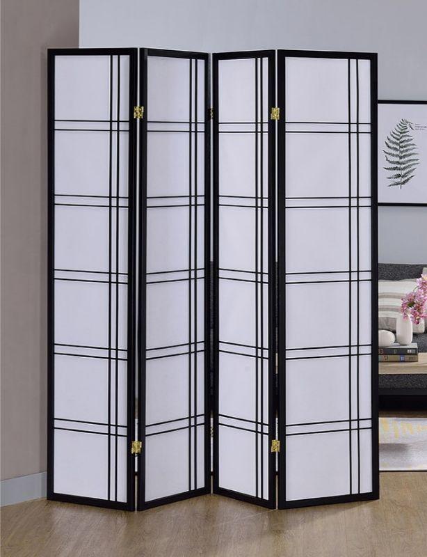 Asia Direct 542BK-4 4 panel black finish wood room divider shoji screen double cross design