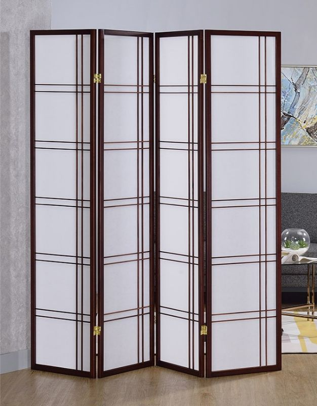 Asia Direct 542CH-4 4 panel cherry finish wood room divider shoji screen double cross design
