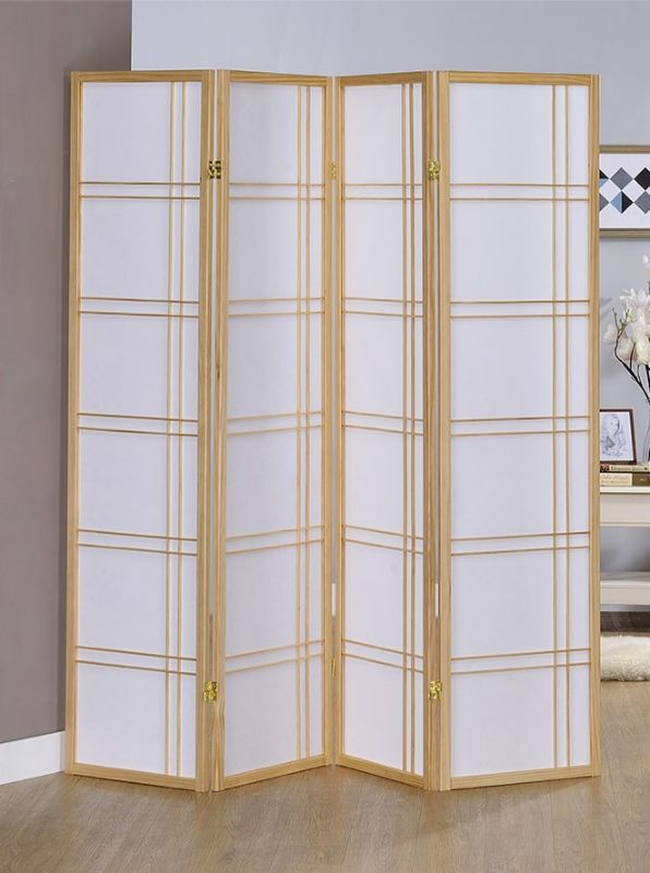 Asia Direct 542NA-4 4 panel natural finish wood room divider shoji screen double cross design