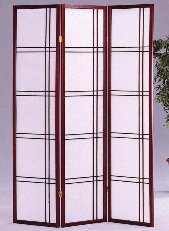Asia Direct 542CH 3 panel cherry finish wood room divider shoji screen double cross design