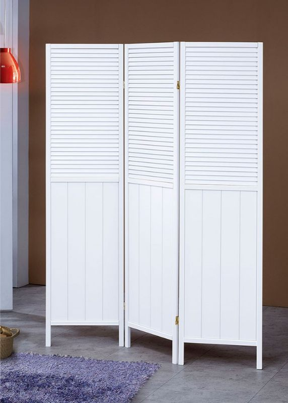 Asia Direct 5420 3 panel white shutter style room divider shoji screen solid wood