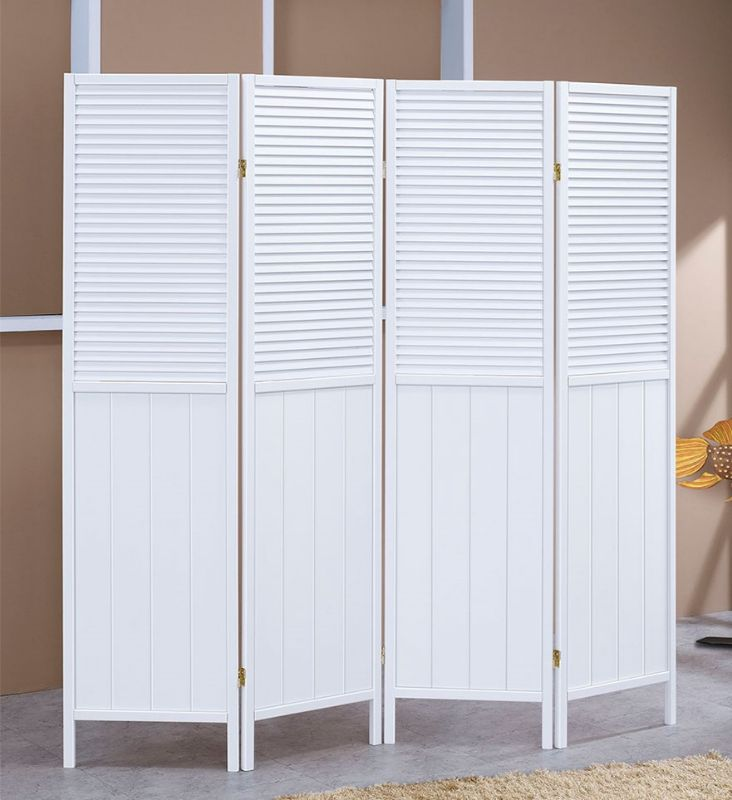Asia Direct 5420-4 4 panel white shutter style room divider shoji screen solid wood