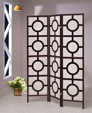 Asia Direct 5426-3 3 panel Circular design black finish wood with Jute inlay style room divider shoji screen
