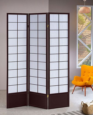 Asia Direct 5429-3 3 panel squares design black finish wood with faux rice paper inlay style room divider shoji screen
