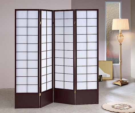 Asia Direct 5429-4 4 panel squares design black finish wood with faux rice paper inlay style room divider shoji screen