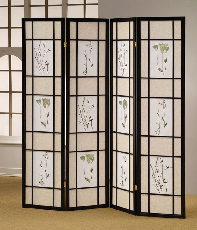 Asia Direct 5441-4 Ophelia and Co Nidhi black finish 4 panel floral room divider screen