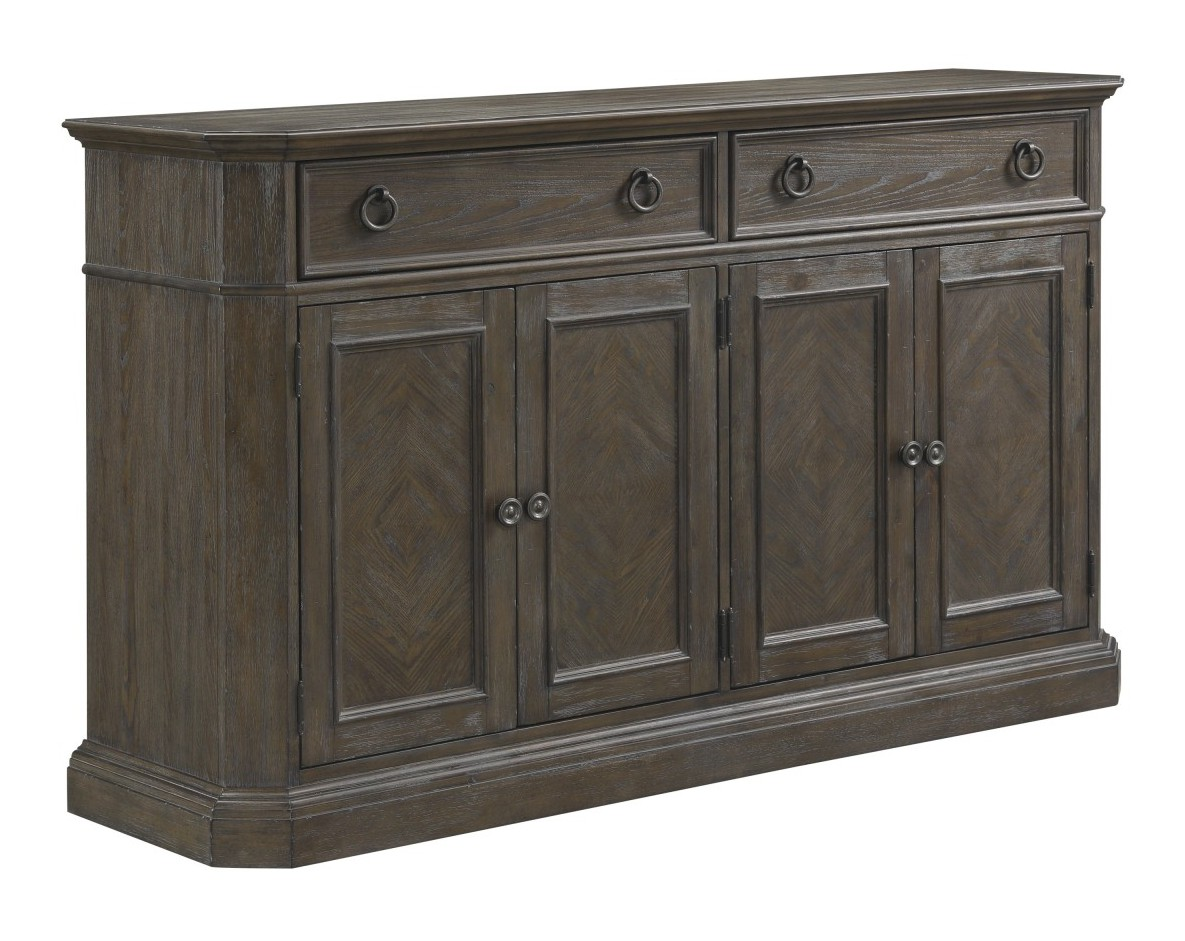 Homelegance 5441-40 Darby home co sarasota driftwood brown finish wood curio cabinet side server buffet console