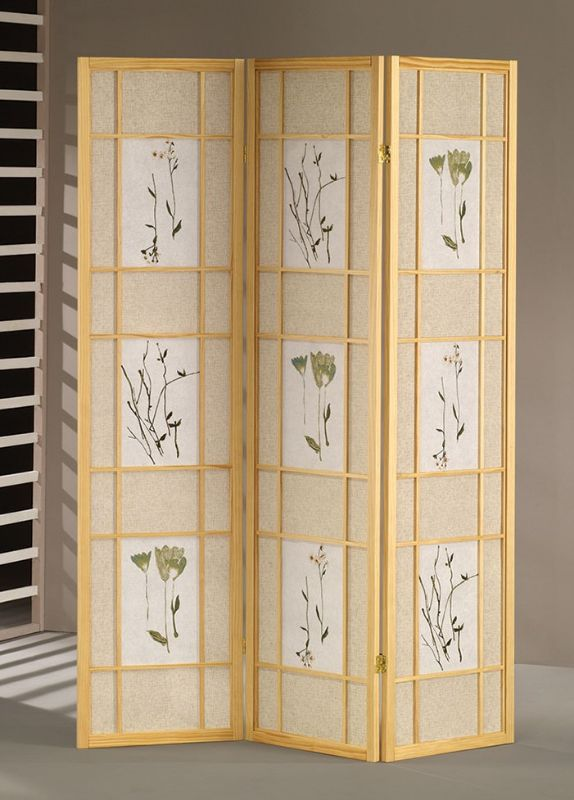 Asia Direct 5442 Ophelia and Co Nidhi natural finish 3 panel floral room divider screen