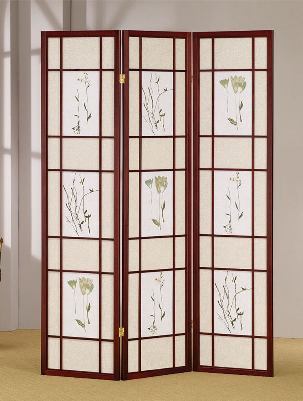 Asia Direct 5443 Ophelia and Co Nidhi natural finish 3 panel floral room divider screen