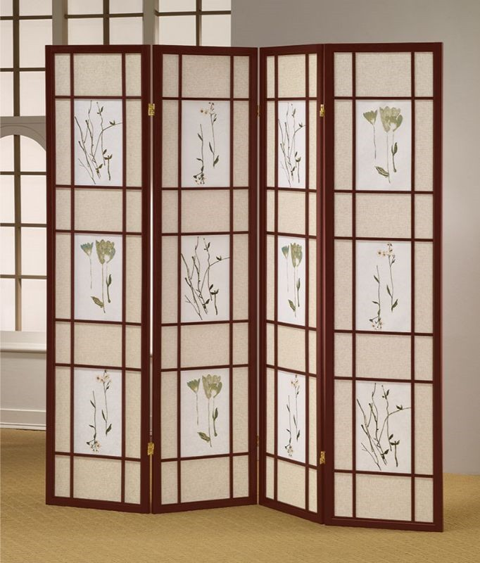 Asia Direct 5443-4 Ophelia and Co Nidhi cherry finish 4 panel floral room divider screen