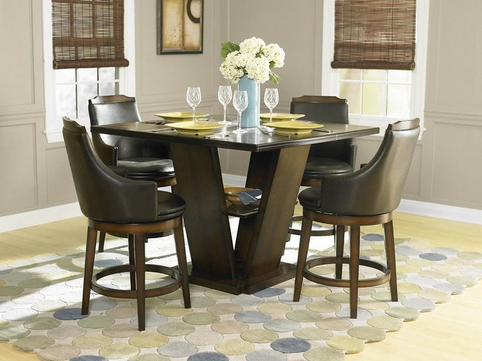 5 pc bayshore collection ii burnished walnut finish wood counter height pedestal dining table set with vinyl padded swivel seats
