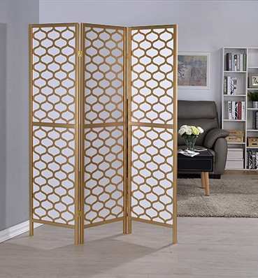 Asia Direct 5460-3 3 panel oval design gold finish wood with faux rice paper inlay style room divider shoji screen