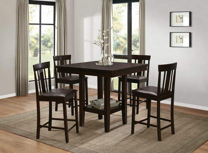 5 pc diego collection warm  brown finish wood counter height dining table set with upholstered seats