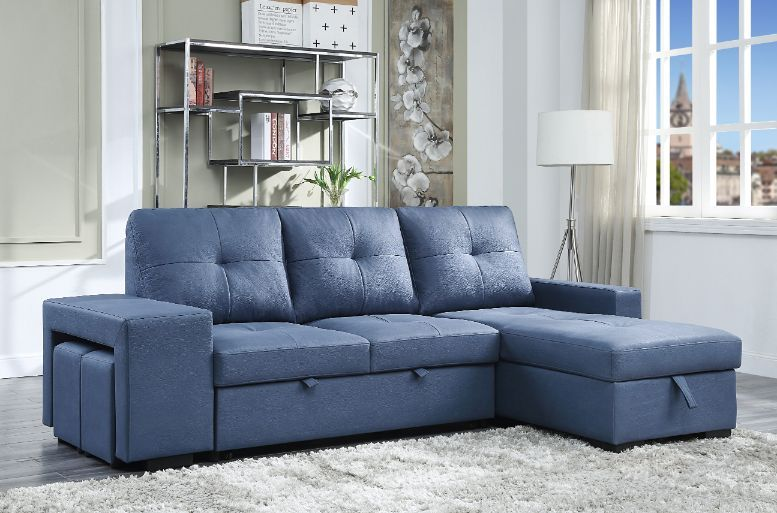 Acme 54650 2 pc Strophios blue fabric sectional sofa with reversible storage chaise and ottomans