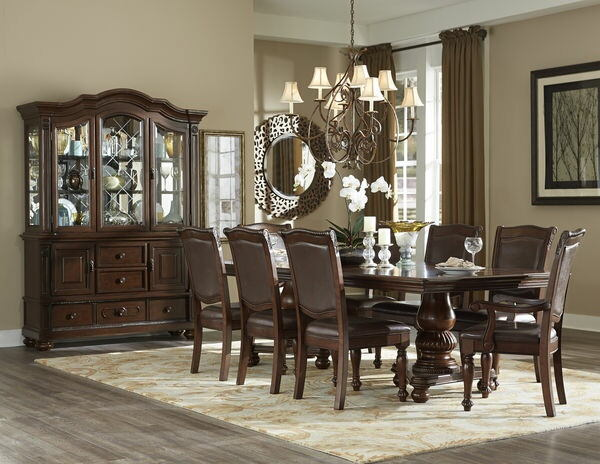 Homelegance 5473-103 7 pc Lordsburg brown cherry finish wood double pedestal dining table set