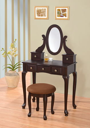 Espresso finish wood 3 pc bedroom vanity set with mirror and stool and multiple drawers
