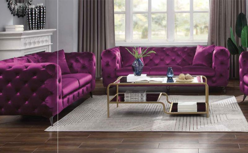 Acme 54905-06 2 pc Everly quinn vintage atronia purple tufted fabric low back sofa and love seat set