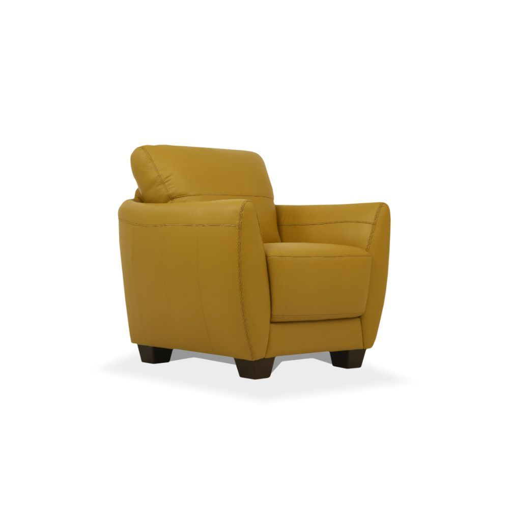 Acme 54947 Winston porter phaedra valeria Mi Piace modern mustard top grain leather chair