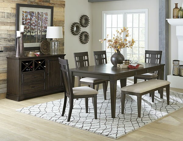 Homelegance 5496-78 6 pc Darby home co Makah dark brown finish wood dining table set with bench