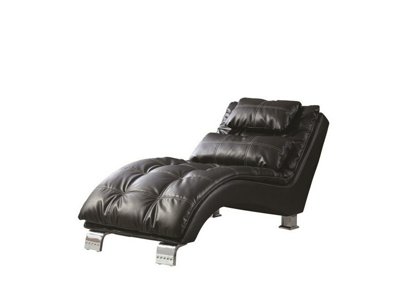 550075 Black leather like vinyl upholstered tufted design chaise lounger with chrome legs