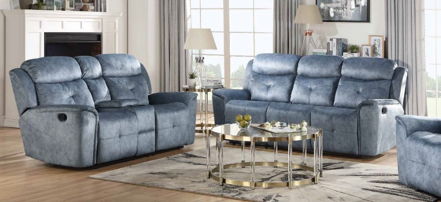 Acme 55035-36 2 pc Red barrel studio zahir mariana silver blue fabric sofa and love seat set with recliner ends