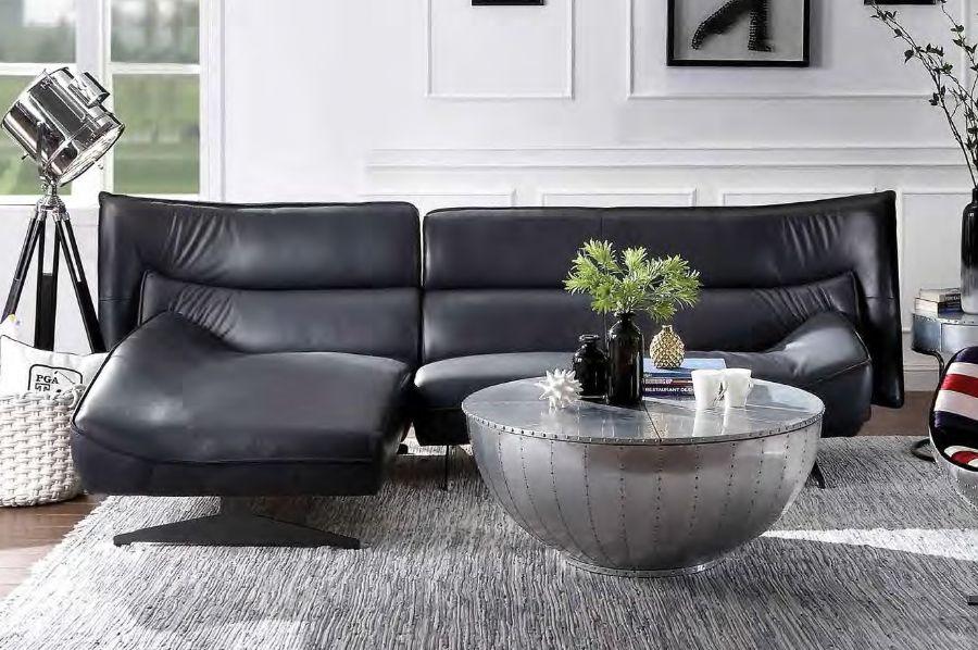 Acme 55060 2 pc Alcott hill bracken maeko dark gray top grain leather sectional sofa set