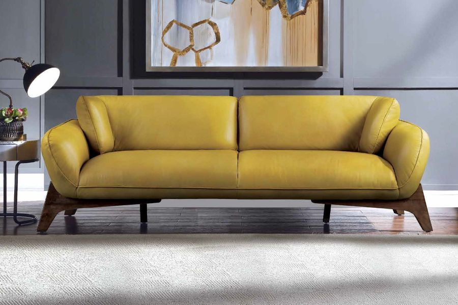 Acme 55075  17 stories diep pesach mustard top grain leather sofa with wood trim base