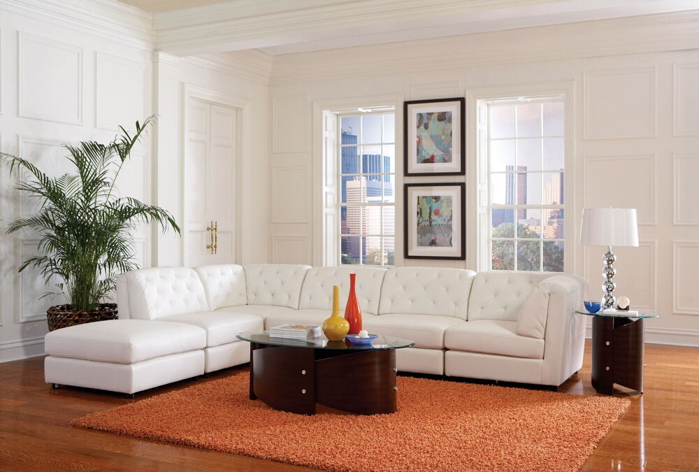 6 pc quinn collection white bonded leather upholstered modular sectional sofa set with tufted backs