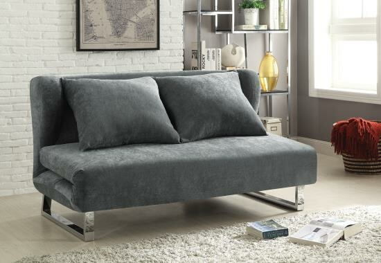 Flaxen collection grey velvet fabric upholstered folding futon sofa bed with chrome finish legs