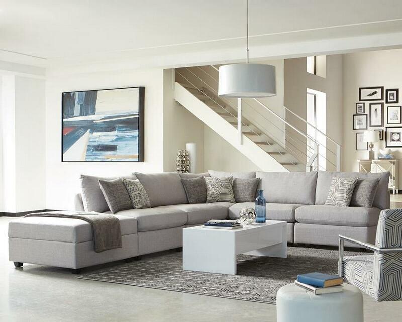 551511 6 pc Charlotte grey linen like fabric modular sectional sofa