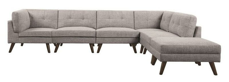 551301 02 03 6 Pc Churchill Collection Grey Linen Like Fabric Mid Century Modern Modular Sectional Sofa With Tapered Legs
