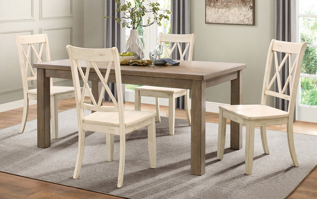 Homelegance 5516-66-WTS 5 pc Canora grey Janina natural finish wood dining table set white color chairs