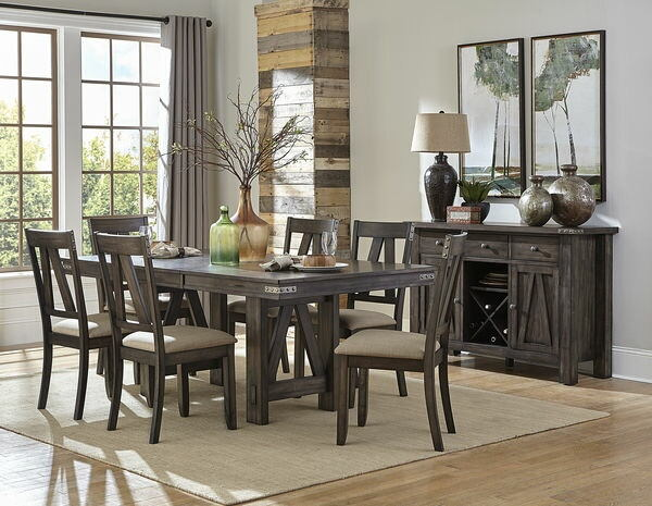 Homelegance 5518-78 7 pc Mattawa country style brown and gray undertone finish wood dining table set
