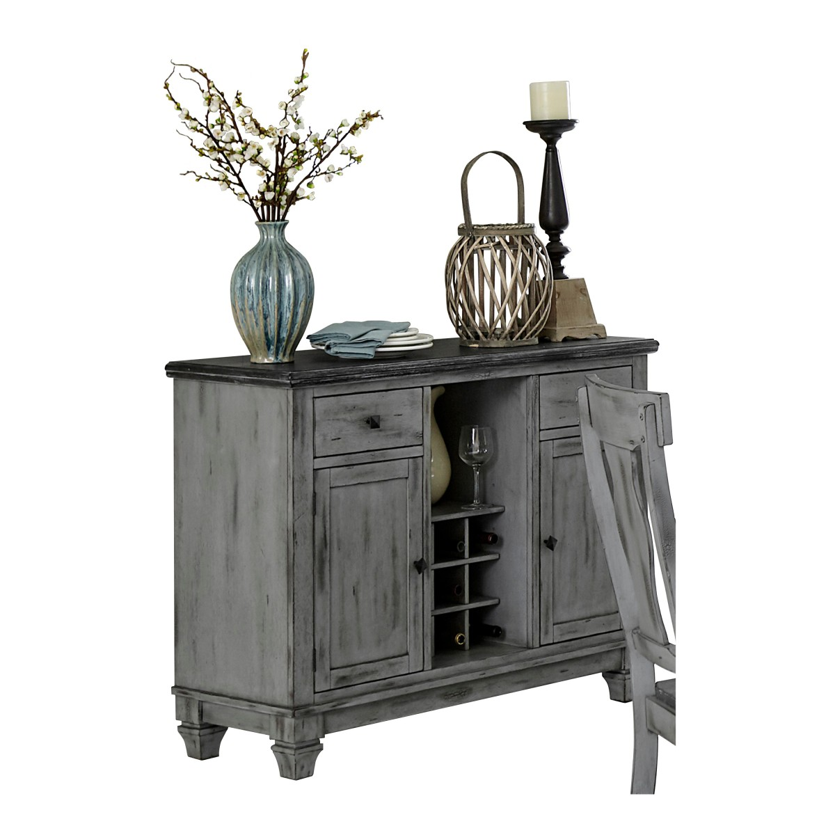 Homelegance 5520-40 Fulbright weathered gray rub through finish wood dining server buffet sideboard