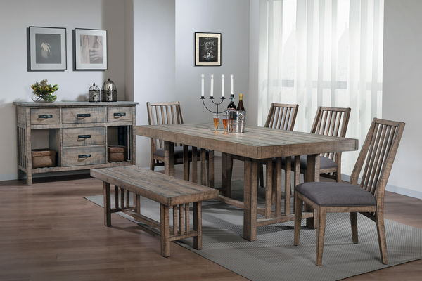 Home Elegance 5544 72 6 Pc Co Distressed Gray Finish Wood Dining Table Set With Bench