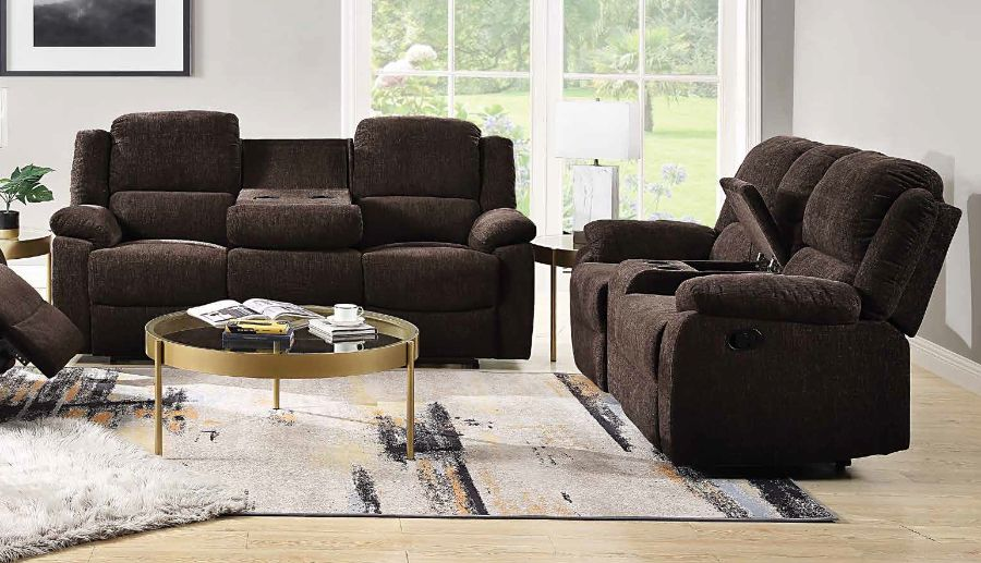 Acme 55445-46 2 pc Winston porter brooklyn kalen brown chenille fabric sofa and love seat with recliner ends
