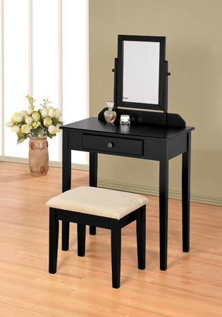 Black finish wood 3 pc bedroom vanity set with mirror and stool