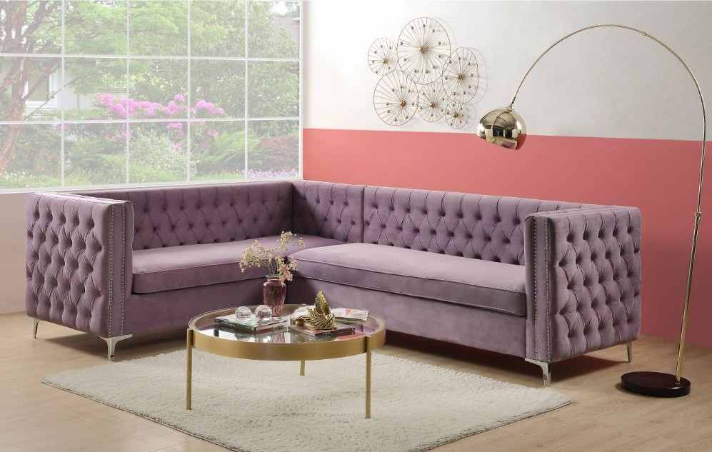 Acme 55500 2 pc Brayden studio rhett lavender velvet fabric sectional sofa tufted backs