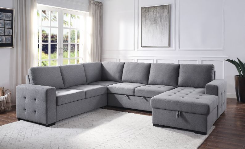 Acme 55545 Latitue run dasara nardo gray fabric sectional sofa with storage chaise and pop up chaise in middle seat