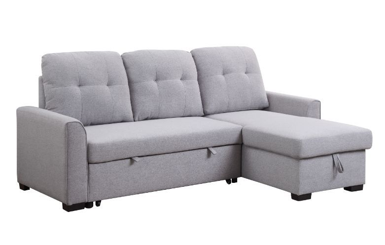 Acme 55550 Genoveve drake light gray fabric sectional sofa with pop up chaise with storage