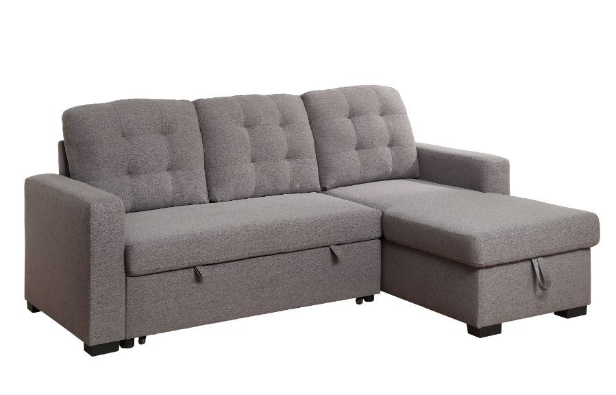 Acme 55555 Genoveve drake gray fabric sectional sofa with pop up chaise with storage