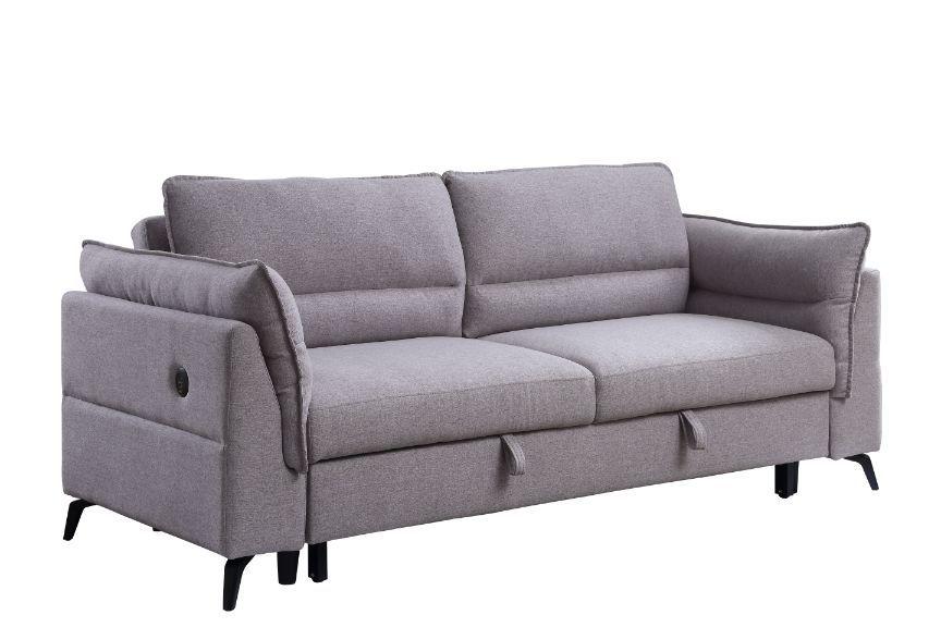 Acme 55560 Yinbella grey fabric sofa with drop down back pop up sleep area