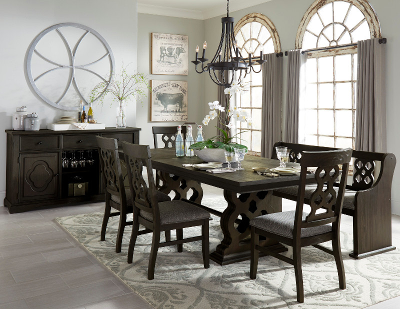 Home Elegance HE-5559N-96 6 pc Arasina salvaged ebony finish wood dining table set with bench